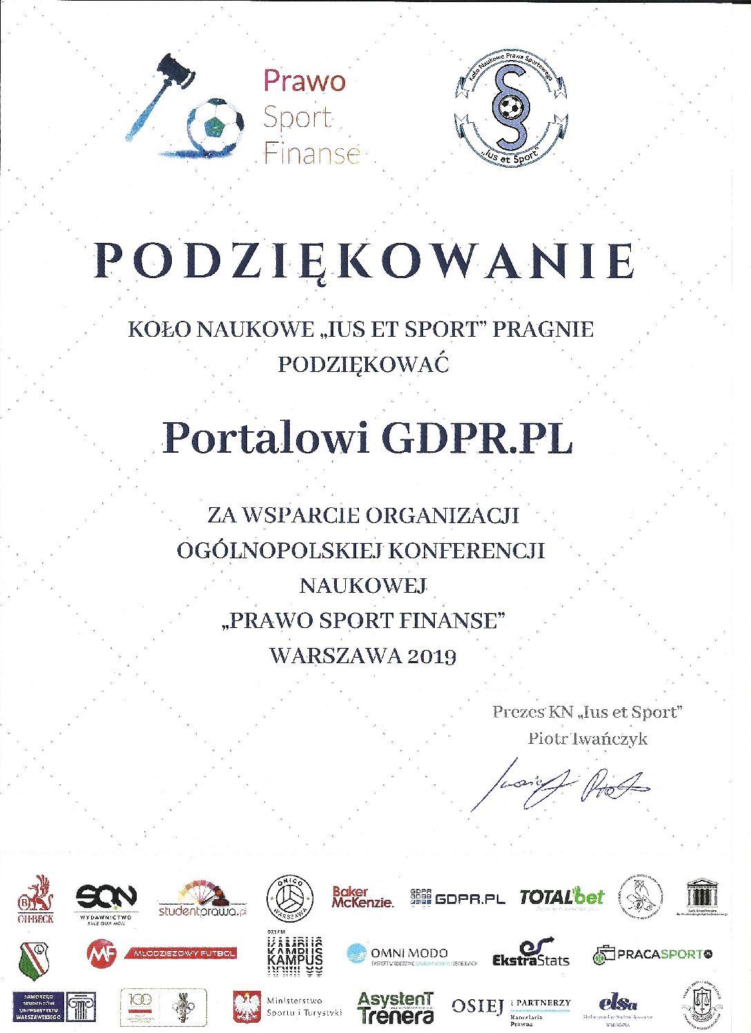 Podziękowanie dla Portalu GDPR. PL