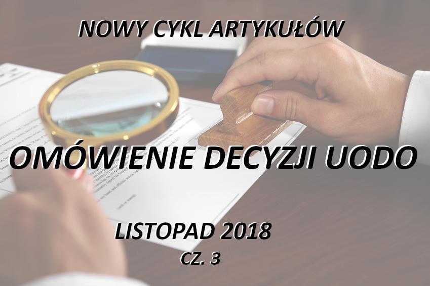 Omówienie decyzji UODO – listopad 2018 – część 3