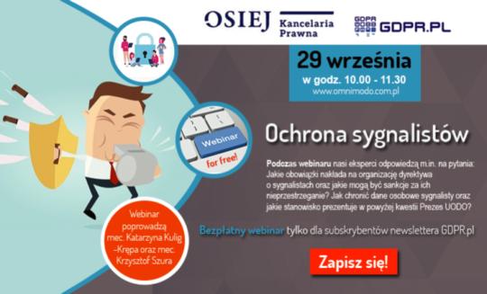 """Webinar """"Ochrona sygnalistów"""" – 29.09.2020"""